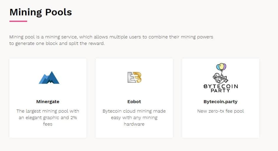 Пулы для майнинга Bytecoin